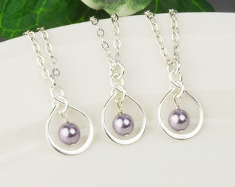 Pearl Bridesmaid Jewelry SET OF 5 Pearl Bridesmaid Necklaces 10% OFF - Sterling Silver Mauve Lavender Swarovski Pearl Infinity Necklace