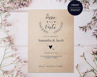 Rustic Wedding Save The Date Card - Printable Template, Editable PDF, Custom Save The Date, Personalized, DIY Card