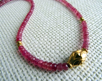 Ruby Necklace with Gold gilded silver Beads