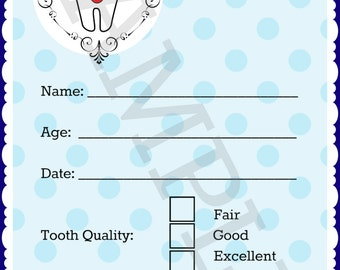 Tooth Fairy Receipt - Blue - Instant Download!