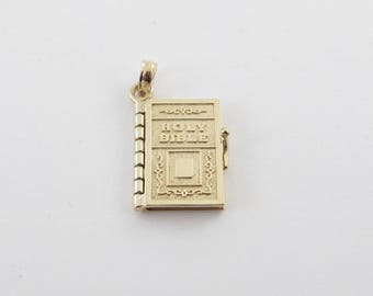14k Yellow Gold Holy Bible Charm Pendant Lord's Prayer Inside