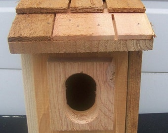 1 bluebird houses nest with cedar shake roof and peterson oval entrance handmade by Cedarnest