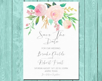 Printable Save the date Wedding Invitation floral Save the date Printable digital files