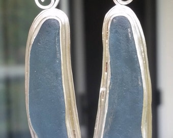 Unique Huge Gray Blue Sea Glass Earrings Genuine Sea Glass and Sterling Silver Jewelry Handmade Sterling Silver Earrings. Bezel Set Sea Glas