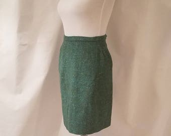 Green Wool Mini Skirt