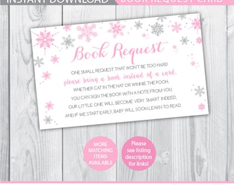 winter book request / snowflake book request card / bring a book instead of a card / bring a book baby shower insert / bring a book INSTANT