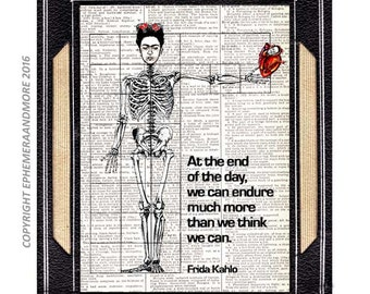 FRIDA Kahlo Quote art print wall decor surreal anatomy skeleton on upcycled vintage dictionary book page black red open heart 5x7,  8x10