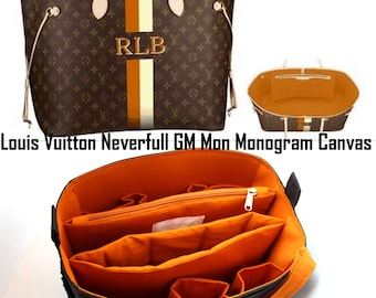 Extra taller Bag organizer for Louis vuitton Neverfull Monogram GM- Purse organizer insert with 2 divider zipper and laptop compartment