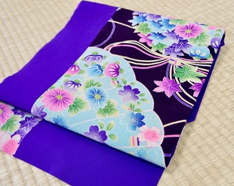 Flower Nagoya obi dark purple chirimen silk, violet Japanese obi vintage, vibrant silk obi belt, vintage obi floral, patchwork kawaii cute