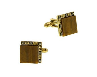 Tiger Eye Cufflinks Classic Gold Tone Antique Tiger's Eye with Crystals Square Cufflink