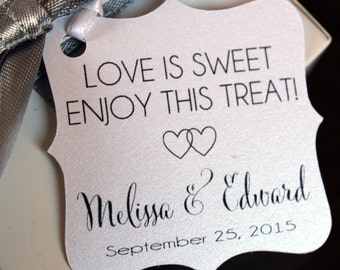 Love is Sweet Favor Tags - Wedding Favor Thank You Tags -Personalized Wedding Favor Tags- Take home this treat -Elegant Favor Tags-Set of 50