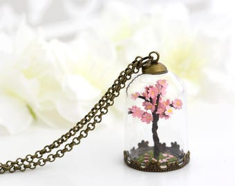 Cherry Blossom Sakura Necklace. Handmade Paper Flower Jewelry. Miniature Cherry Blossom Tree. Glass Terrarium Necklace. Gift for Her.