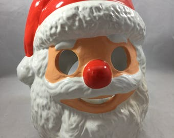 Vintage Slightly Frightening Ceramic Santa Head Candle Holder