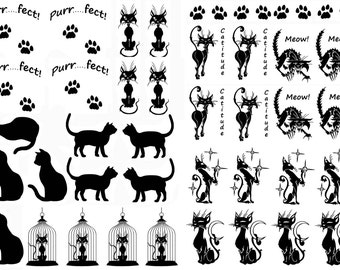 """Cat Kitty Kitten Low Fire Glass Decals Select-A-Color Black or White 5""""X7"""" Card"""