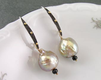 Kasumi like wrinkle pearl earrings, handmade mixed metal, sterling silver, 22k gold and 14k gold filled earrings-OOAK June birthstone