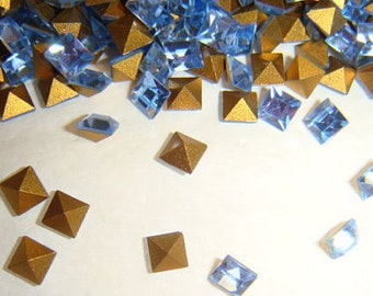 Vintage Swarovski light Sapphire Rhinestones 4mm Square QTY - 8