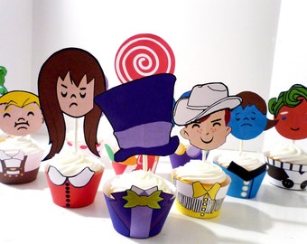 Instant Download Willy Wonka  Chocolate Factory Classic Printable Party Cupcake Wrappers and Toppers