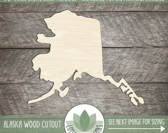 Alaska Wood Shape, DIY Craft Supply US States, Home Decor Project, Many Size Options, USA Wood State Shapes, Laser Cut Wood Alaska