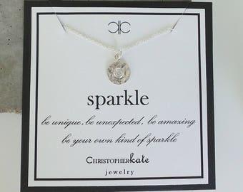 CZ Sparkle Necklace...Encouragement, Achievement, Graduation...Everyday, Simple, Gold, Silver, Layering