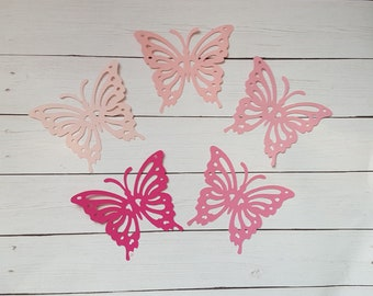 Pink paper butterfly die cuts  Pink butterfly cutouts Big butterfly die cuts Paper butterflies Butterfly confetti Butterfly tags