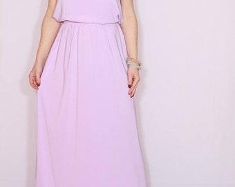 SALE Chiffon bridesmaid dress Lavender dress Pale purple dress Long Prom dress Keyhole dress
