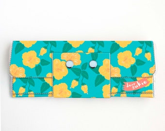 Vinyl Long Wallet - Tropical Summer3 / floral, flower, yellow, pineapple, vegan, pretty, large wallet, clutch, card case, vinyl wallet, blue