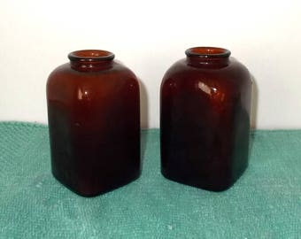 Vintage 1940's or 1950's Amber/Brown Glass Square Snuff Bottles-2 Sizes Both w 3 Dots