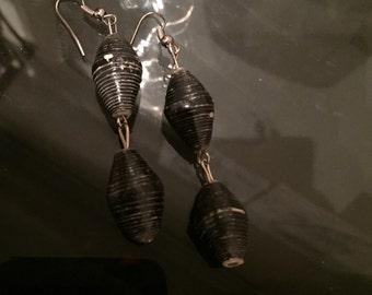 Black paper bead earrings