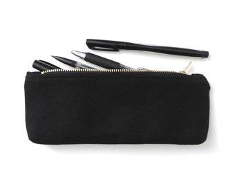 Black Canvas Pencil Case Zipper Pencil Pouch Back to School Supplies