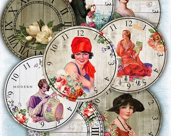 75% OFF SALE Retro clock face - Digital collage sheet printable digital tags digital retro clock digital image atc card flowers cardmaking