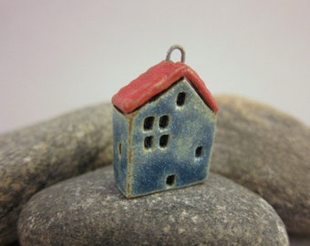 House Pendant in Stoneware...Galactic Blue & Red