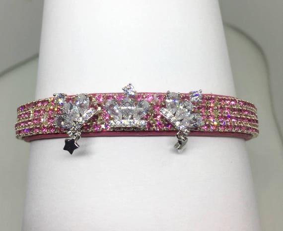 Cutie Pie Pet Collars TM ~Triple Diamond Crown Star Princess~ UPSCALE Crystal Diamante Rhinestone Pet Dog Cat Collar USA