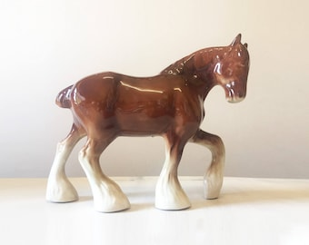 Horse figurine, ceramic horse, vintage horse, horse statue, brown horse, vintage figurine, large horse, horse ornament, horse collectible