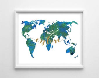 World map, watercolor world map, world map printable, explore, office art, office decor, wall art, digital file, download world map