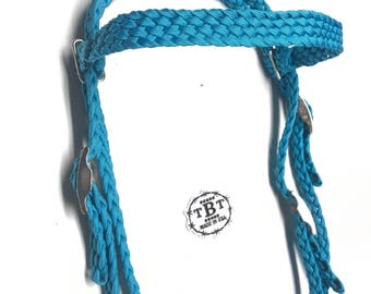 Bridle and reins, headstall, western tack, horse tack, horse, custom bridle, you choose color, braided tack, paracord tack