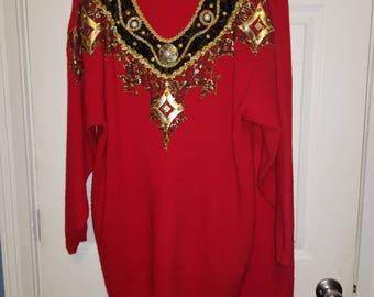 Embellished V-Neck Sweater set w/ skirt