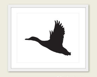 Flying Duck Art Print - Mallard Duck Wall Art - Balck - Home Decor