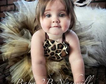 Safari Giraffe Costume With Leggings Birthday Tutu  Pageant Outfit of Choice,  Brown Giraffe Tutu Baby - Girls 8