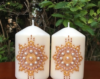 Boho Decor, Unscented Candles, Decorative Candles, Pillar Candles, Home decor, Unique Gifts, Candle Gift Set, Gold/Copper, Set of 2 candles