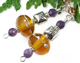 Amber Lampwork Earrings, Amethyst Gemstone Earrings, Silver Flower Bead Dangles, Purple Amber Earrings, Bohemian Jewelry, Gemstone Earrings