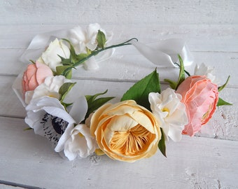 Boho bridal flower crown Rustic wedding floral crown girl Floral headpiece Women flower headband Blush ranunculus Peach roses White anemone