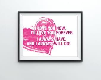"Romantic wall art "" I love you "" Love wall art, wedding art, wall decor typography print, typography wall art,quote prints,home prints"