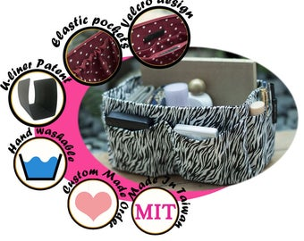 Purse Organizer Insert handmade gift / Extra Sturdy / zebra black white / Large 25x10cm