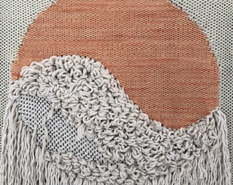 Peach Circle Hand Woven Wall Hanging with Cotton Rope Fringe