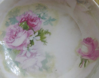 Roses Bowl Vintage Shabby Chic Pink Green Lustre Bavaria Porcelain Cottage Farmhouse Decor