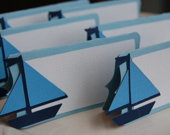 Sailboat Place Card, Sailboat Food Labels, Sailboat Party Supplies, Nautical, 12 Pcs, You Select the Colors
