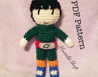 Naruto Inspired Crochet Rock Lee Amigurumi Doll English PDF Pattern