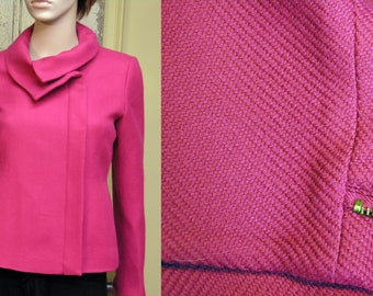 Vintage Gorgeous Talbots Petite Fully Lined Hot Pink Jacket with Off Center Zipped Front Size 6p Light Wool Jacket