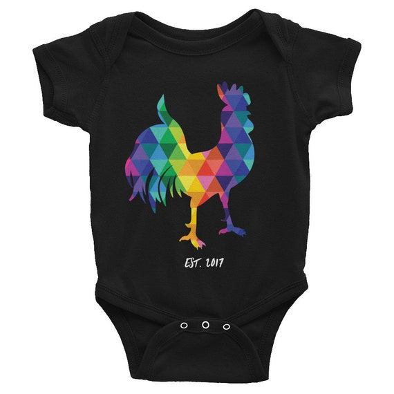 CUSTOM Infant Bodysuit Colorful Onesie Rainbow Rooster Cute Onesie Funny Onesie Gifts for Baby Shower Gifts