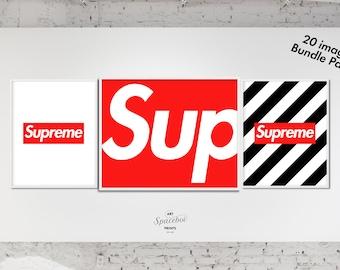 Supreme Box Logo, Set of 3 Prints, Supreme, Kicks, Sneaker Poster, Art Print, Sneaker Art Work, Wall Prints, Hype beast, Urban Art